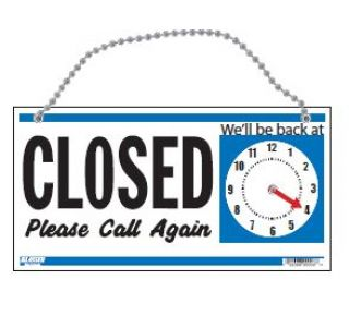 Product Name: OPEN/CLOSED 2-SIDED W/CLOCK BLUE